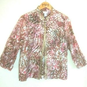 Chico's top chiffon linen blend animal print pink